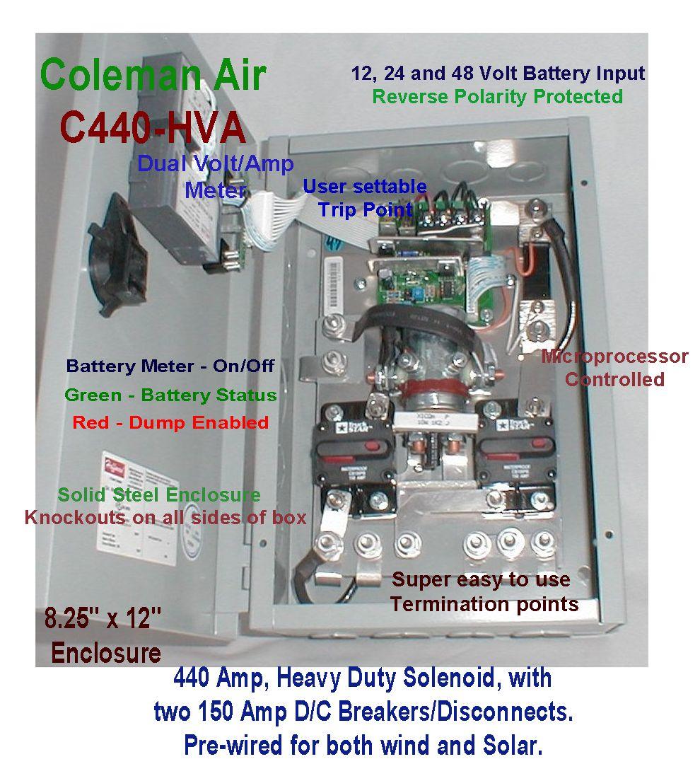 Coleman Air 440a 12  24  48v Wind  Solar Diversion